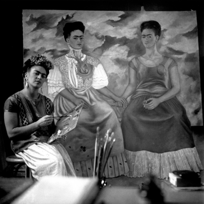 Nickolas Muray. 'Frida Painting the Two Fridas, Coyoacan' 1939