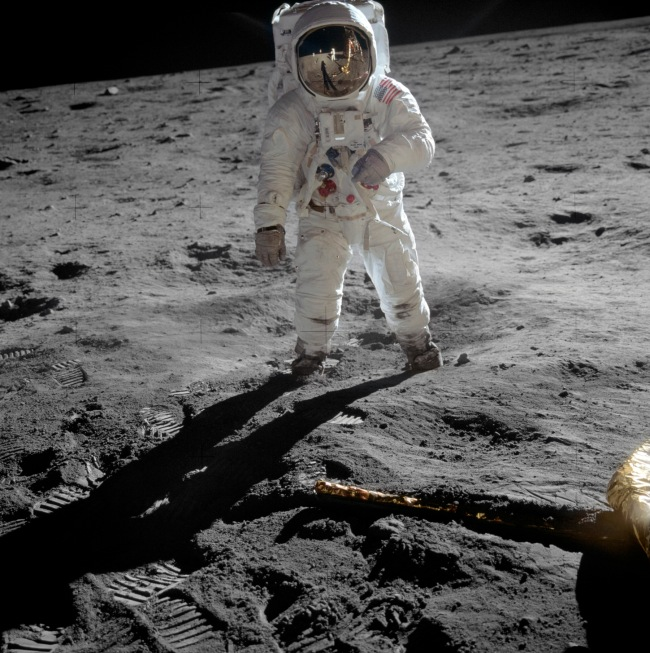 Neil Armstrong. 'Astronaut Buzz Aldrin, lunar module pilot, walks on the surface of the Moon near the leg of the Lunar Module (LM)' 1969