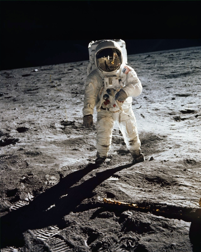 Neil Armstrong (American, 1930-2012 photographer) 'Astronaut Buzz Aldrin, lunar module pilot, walks on the surface of the Moon near the leg of the Lunar Module (LM)' 1969