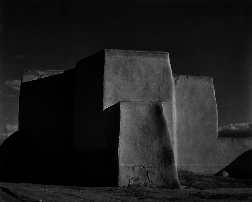 Paul Strand. Inverted colour burn of his photograph 'Church, Ranchos de Taos' New Mexico 1932