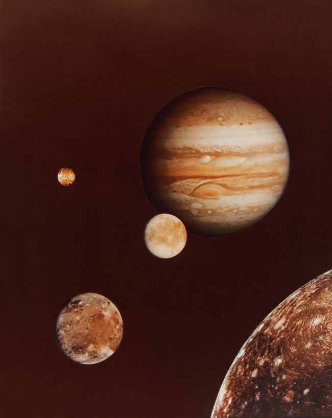 NASA, Washington, D.C. (manufacturer) 'Photo collage of Jupiter and its four largest moons; from early March Voyager I photos' 1979