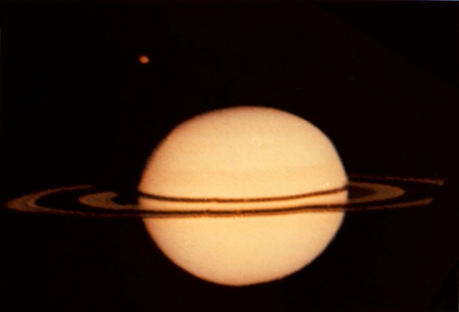 Pioneer 11. 'Image of Saturn and it's Moon Titan' 1979