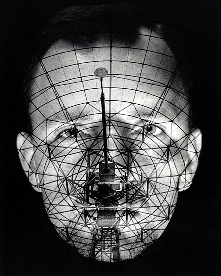 Raymond De Berquelle. 'Where do you come from? Planet Earth (Self-portrait with radio telescope)' 1968