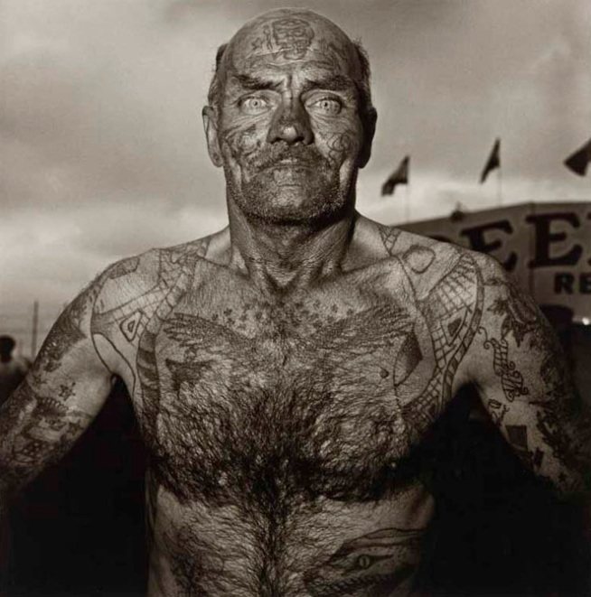 Diane Arbus. 'Tattooed Man at a Carnival, Md.,' 1970