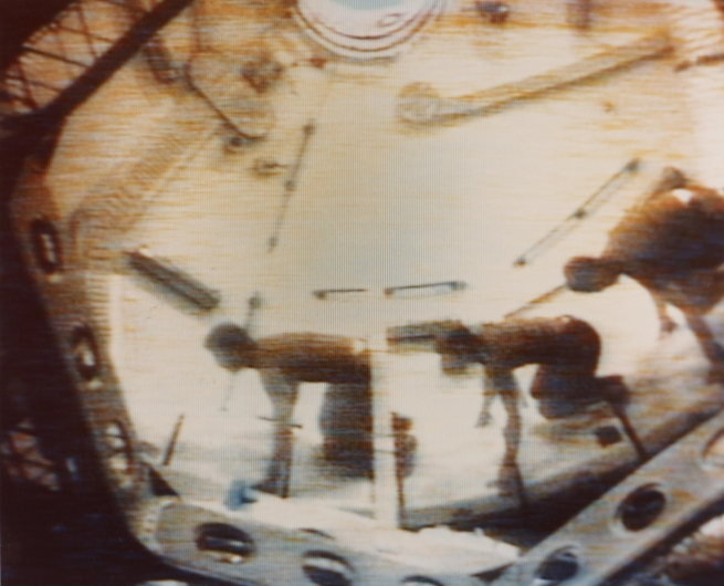 NASA, Washington, D.C. (manufacturer) 'Three Skylab 2 crewmen demonstrate effects of weightlessness' 1973