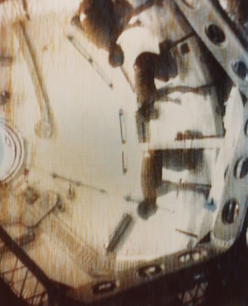 Skylab. 'Three Skylab 2 crewmen demonstrate the effects of weightlessness' 1973
