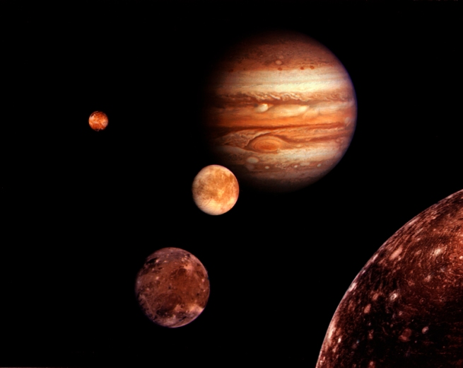 Voyager 1. 'Photocollage of Jupiter and its four moons' 1979