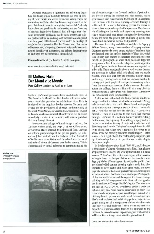 Review in Art Monthly, June 2009