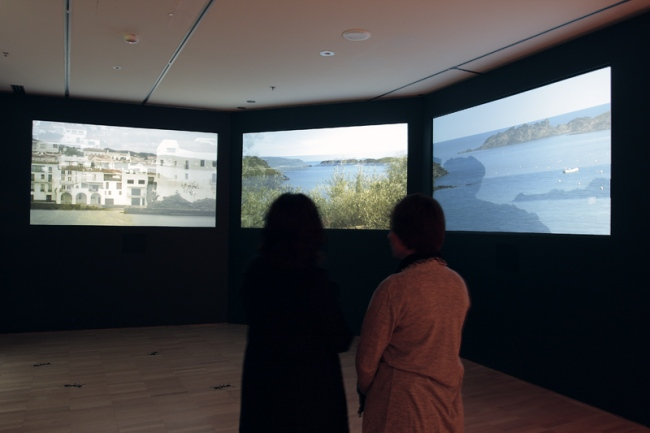 3 panel video installation of the Catalan countryside around where Salvador Dali lived