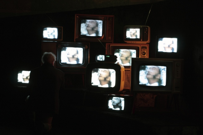 Television with film installation at 'Salvador Dali: Liquid Desire' Winter Masterpieces exhibition at NGV International, Melbourne