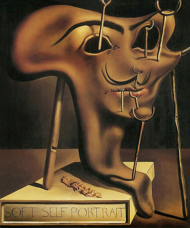 Salvador Dalí. 'Soft self-portrait with grilled bacon' 1941
