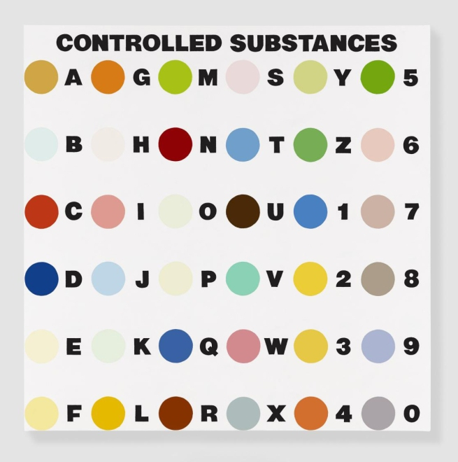 Damien Hirst (English, b. 1965) 'Controlled Substances Key Painting (Spot 4a)' 1994