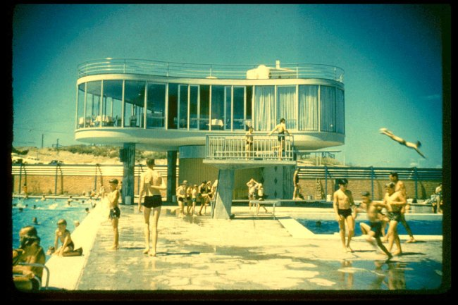 James Birrell. 'View of the elevated restaurant, Centenary Pool, Brisbane' Nd