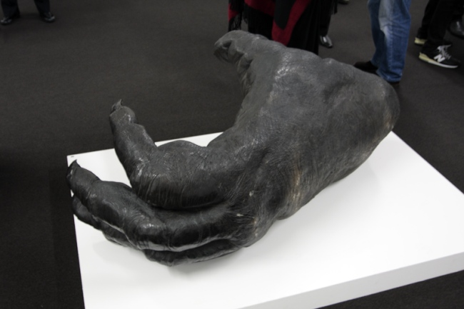 'Orangutan Foot' (2007/08) by Lisa Roet at the opening of 'In-Sight' exhibition at Karen Woodbury Gallery, Melbourne