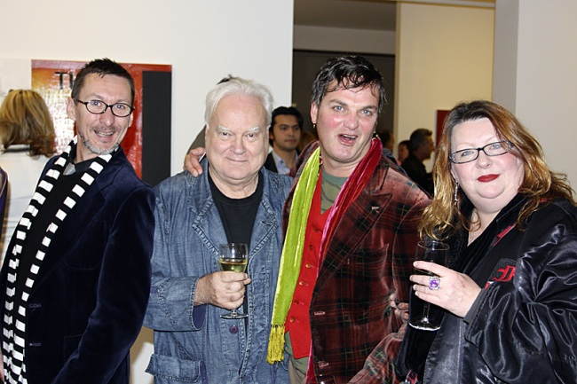 From left to right Brenton Geyer, the artist of the night Gareth Sansom, artist Gavin Brown and Jenny Rees