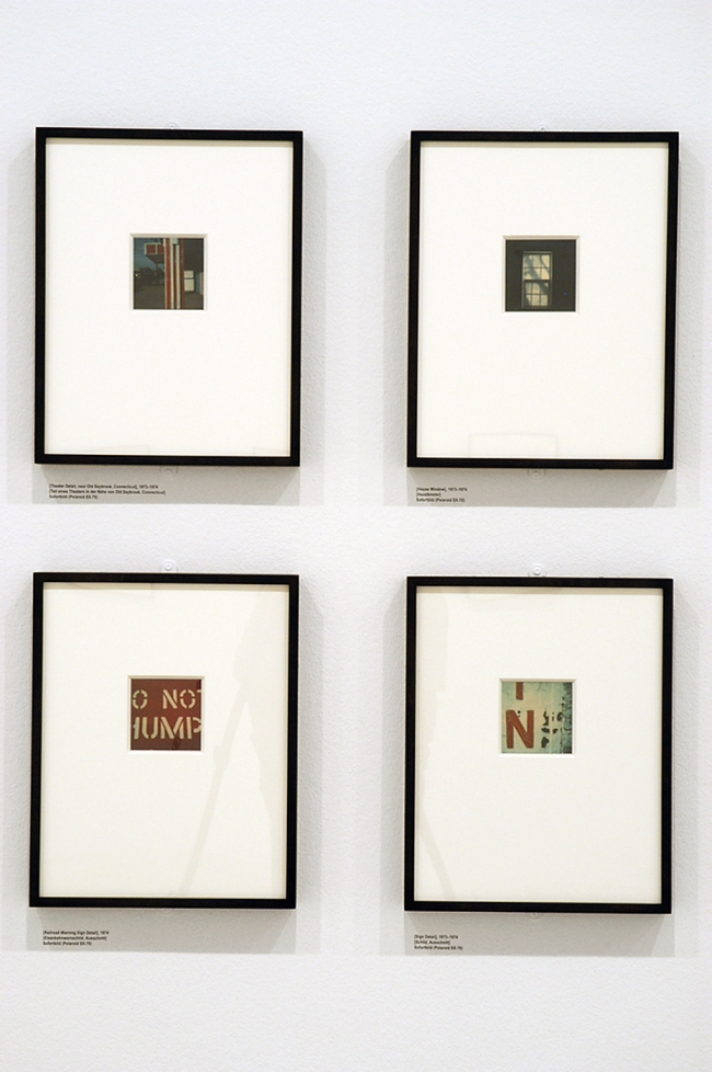 Installation view of the exhibition 'Walker Evans' at Fotomuseum Winterthur, Zurich showing some of his Polaroid photographs