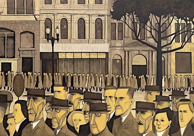 John Brack. 'Collins St, 5p.m.' 1955