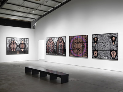 Gilbert & George installation photograph of their exhibition 'Jack Freak Pictures' at Arndt & Partner, Berlin