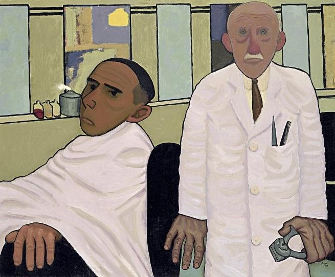 John Brack(Australian, 1920-1999) 'The barber's shop' 1952