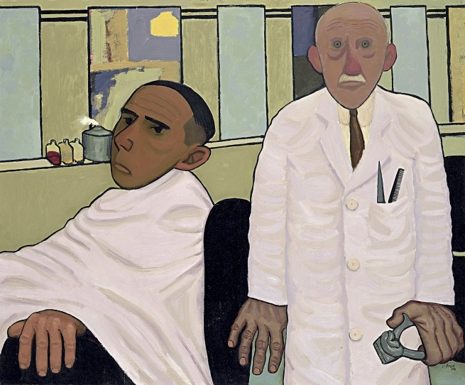 John Brack (Australian, 1920-1999) 'The barber's shop' 1952