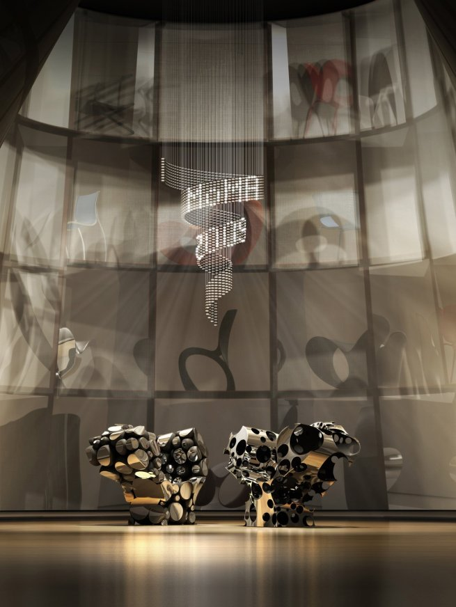 Installation view of 'Ron Arad: No Discipline' exhibition featuring 'Cage sans Frontières (Cage without Borders)' with 'Even the Odd Balls?' chairs (2009) and 'Lolita Chandelier' (2004)