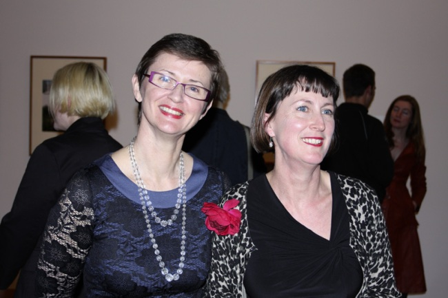 Dr Isobel Crombie, Senior Curator of Photography at the NGV (left) with Susan can Wyk, Curator of Photography at the NGV and curator of the exhibition (right) at the opening of 'Long Distance Vision'