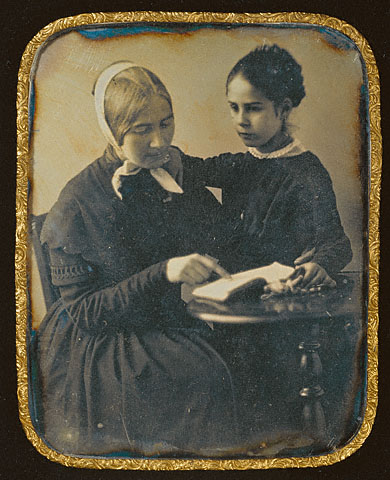 Anonymous. 'Woman Reading to a Girl' French, c. 1845