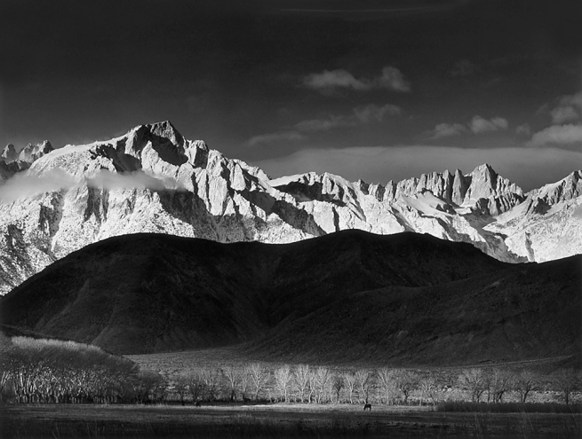 Ansel Adams. 'Winter Sunrise, Sierra Nevada from Lone Pine, CA.,' 1944