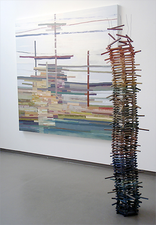 Photograph showing the relationship of form between the work 'Jacob's Ladder' (2009) and the painting 'Breathing Space' (2009)