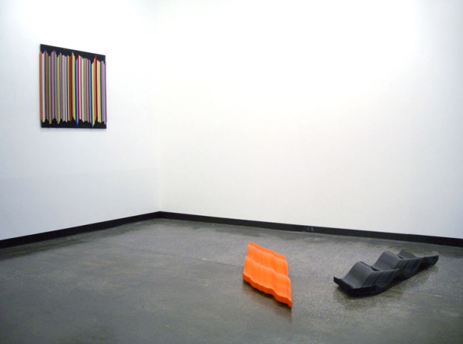 Installation view of 'Connection is Solid' by John Nicholson with on the wall 'Satellite Graffitti' (2009) and on the floor 'Cascade' (2009) and 'Swoop' (2009)