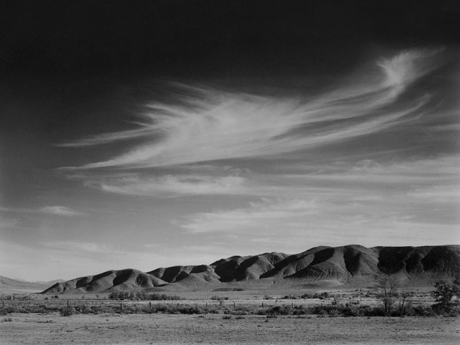 Ansel Adams. 'View south from Manzanar to Alabama Hills, Manzanar Relocation Center' 1943