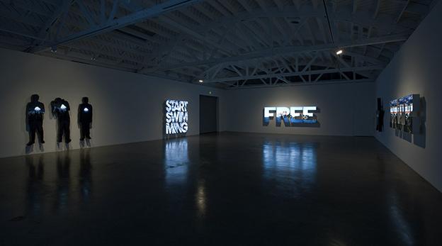 Installation view of Doug Aitken at Regen Projects, Los Angeles