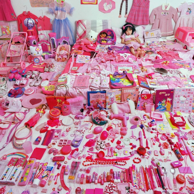 JeongMee Yoon (Korea, b. 1965) 'Seo Woo and Her Pink Things' from 'The Pink and Blue Project' (2005-8)