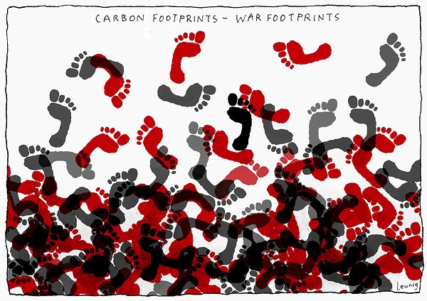 Michael Leunig. 'Carbon Footprints, War Footprints' December 2009