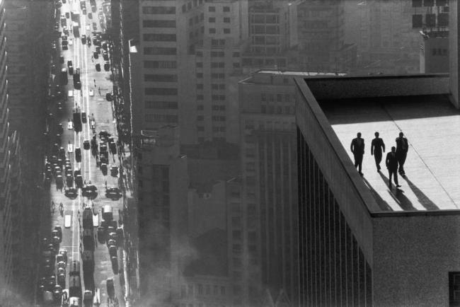 Rene Burri. 'Men On A Rooftop, Sao Paulo', 1960
