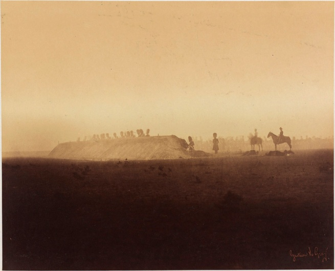 Gustave Le Gray(French, 1820-1884) 'Cavalry Maneuvers behind barrier, Camp de Châlons' 1857