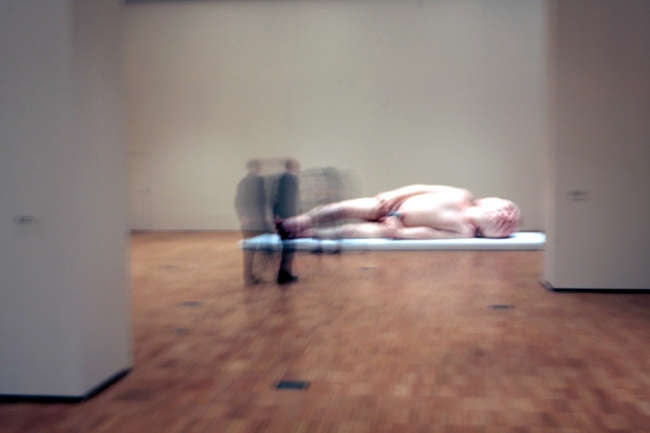 Installation photograph of the Ron Mueck exhibition at the National Gallery of Victoria