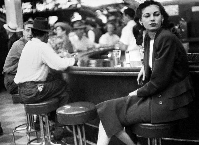 Lisette Model (American, born Austria 1901-1983) 'Las Vegas, on the bar' c. 1945