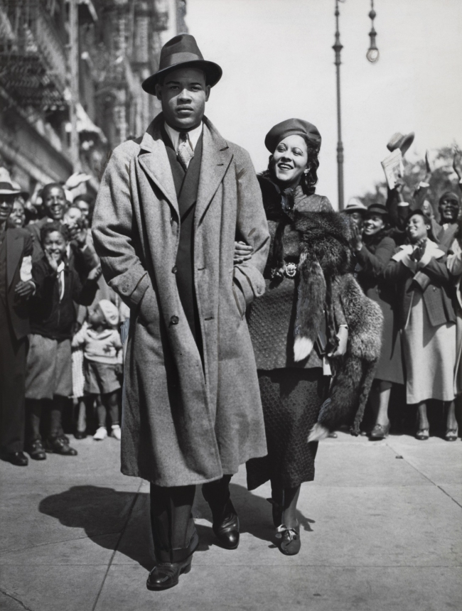 Times Wide World Photos. 'Mr. and Mrs. Joe Louis Out for a Stroll' September 25, 1935