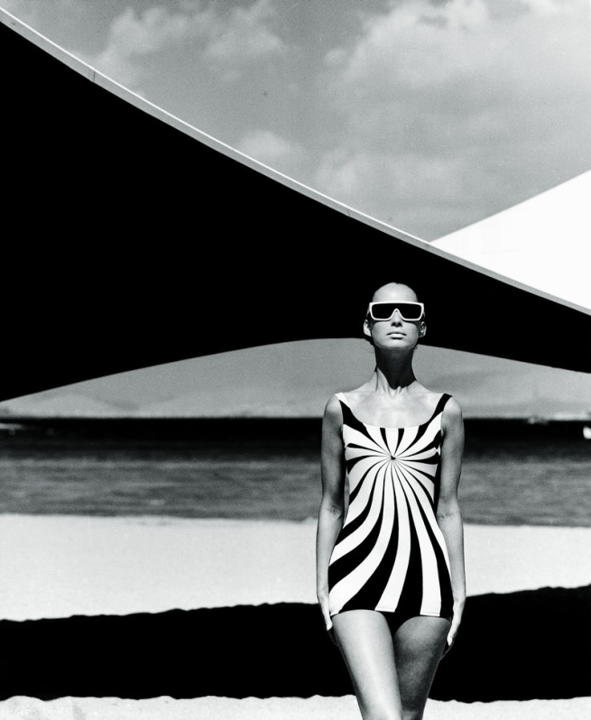 F.C. Gundlach (German, b. 1926) 'Op Art Swimsuit. Brigitte Bauer, Op Art swimsuit by Sinz Vouliagmeni' Greece 1966