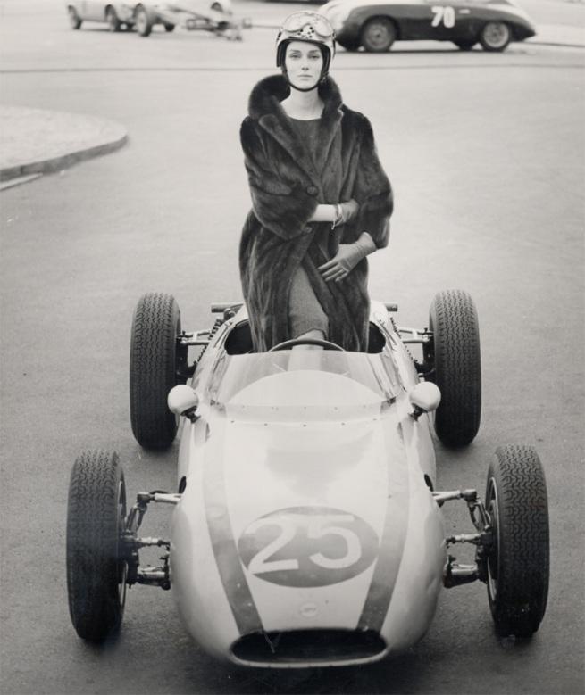 F.C. Gundlach(German, b. 1926) 'Judy Dent mit Saga-Nerz auf der Avus' 1962