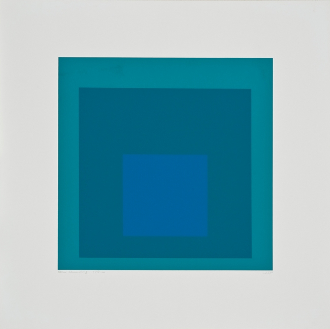 Josef Albers (German, 1888-1976) 'Homage to the Square - Blue Reminding' 1966
