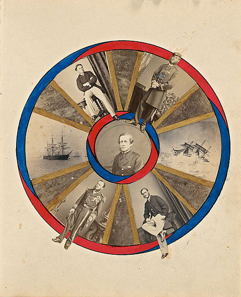 Viscount Jocelyn (Great Britain, 1820-1880) attributed to. 'Circular design containing five male studio portraits and two ships' c. 1860