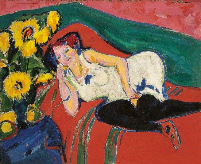 Ernst Ludwig Kirchner (German 1880-1938) 'Reclining woman in a white chemise' (Liegende Frau im weiβen Hemd) 1909