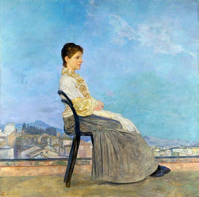 Max Klinger (German 1857-1920) 'Portrait of a Roman woman on a flat roof' (Bildnis einer Römerin auf einem Dach in Rom) 1891