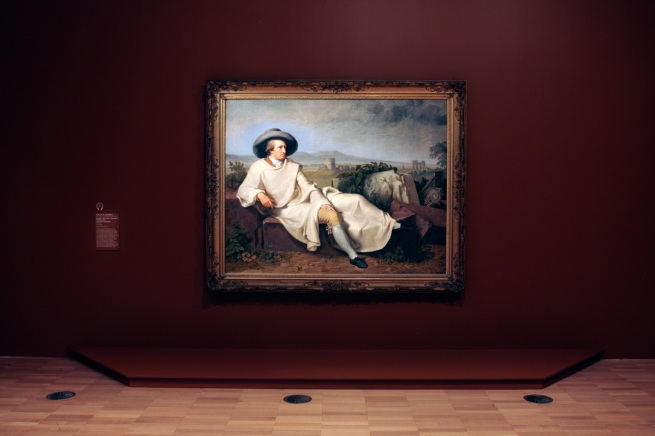 Installation view of Johann Heinrich Wilhelm Tischbei's panting 'Goethe in the Roman countryside' 1787