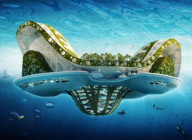 Vincent Callebaut. 'Lilypad, A Floating Ecopolis for Climate Refugees' 2008