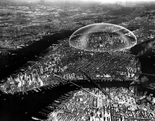 Richard Buckminster Fuller, Shoji Sadao. 'Dome over Manhattan' c. 1960