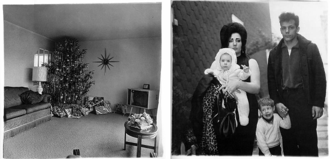 Diane Arbus Magazine spread featuring 'Xmas tree in a living room in Levittown, L.I.,' (1963) and 'A Young Brooklyn Family Going for a Sunday Outing, N.Y.C.' 1966