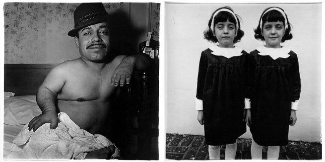 Diane Arbus Magazine spread featuring 'Mexican Dwarf in his hotel room, N.Y.C.,' 1970 and 'Identical twins, Roselle, N.J.,' 1967